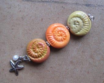 Lampwork Beads - SueBeads - Ammonite Beads - Ammonite - Bead Set - Glass Bead Set - Handmade Lampwork Beads - SRA M67
