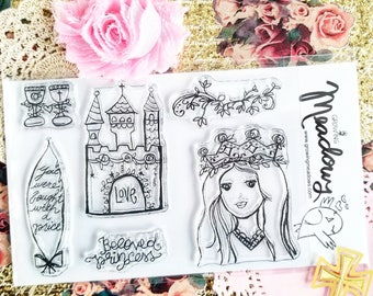 Beloved Princess Stamps Christian Stamping Bibles Castle Girl Goblet Bride Queen Floral feathers Bible Journaling Growing Meadows Tai Bender