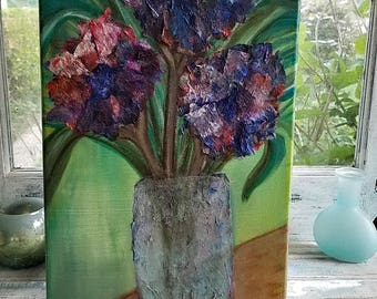 10x20 Mixed Media Floral Painting on Canvas, Flowers, Vase, Bouquet, Texture