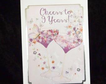 9th anniversary card etsy