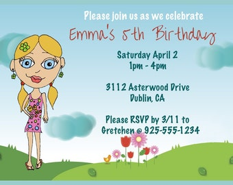 Girl Birthday Invitation - Design your own Girl Birthday Cards - 12