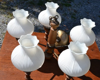 Vintage Virden Hanging Light Chandelier 5 Arm Wood Metal Frosted White Glass Globes PanchosPorch