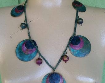 Vintage 80's Metal Disc Necklace, Copper, Purple, Blue