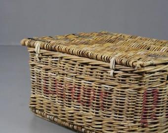 Vintage Hinged Lid Laundry Basket
