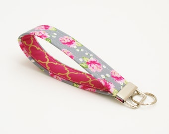 Fabric Key Fob - Gray, Pink, and Gold Floral - 5 Inch Key Ring - Keychain - Cute Fob - Wristlet Loop - Bridesmaid Gift - Short Lanyard Strap