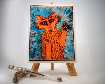 Greeting Card, Blank, Friendly Coyote Painting Design