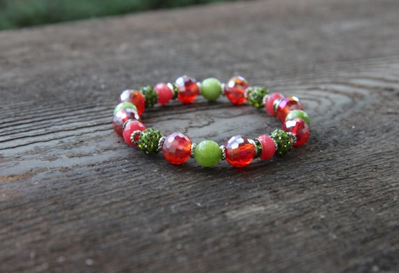 The  Dream Bracelet - Ruby Crystal and Green Jade Beads with Green Pave Beads