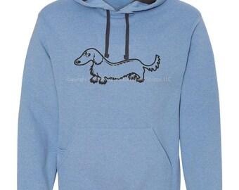 Longhair Dachshund Hoodie Sweatshirt with Media Pocket