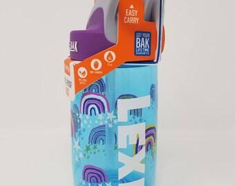 Personalized .4L Kid's Glitter Rainbows CamelBak® Bottle - Water Bottle, Hydrate, Custom, Bite Valve, Sparkle,  Toddler, School,  Shimmer