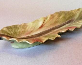 Hand Painted Porcelain Leaf Dish