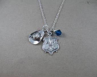 Three Musketeers - Fleur-de-lis Shield - Hat Charm Necklace - Silver