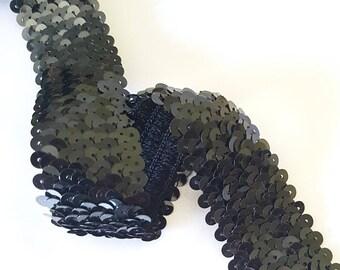Lace Ribbon sequins 30 mm black glitter elastic