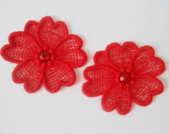 2 flowers in red lace with Crystal rhinestones