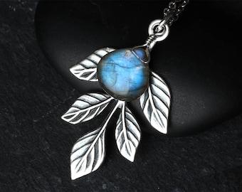 "Labradorite Necklace, Labradorite Jewelry, Labradorite Pendant, Blue Labradorite, Sterling Silver, Leaf Necklace, CircesHouse, ""Lorien"""