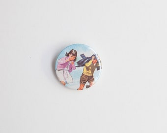 Rain - A Badge / Pinback Button made from a Vintage Ladybird Book, 38mm 1.5 Inches