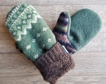 Best Wool Sweater Mittens // Womens Sweater Mittens // Fleece Lined mittens // Green and Brown