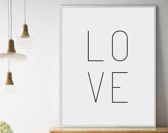 Love, Love Poster, Typography Print, Love Print, Love printable, Modern Minimalist, Inspirational Wall Art, Typography Printable