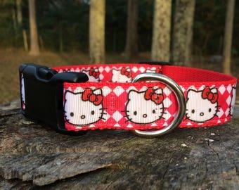Cute Red Hello Kitty Dog Collar