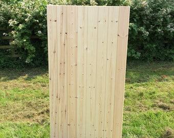 Garden side gate solid redwood T&G construction flat top