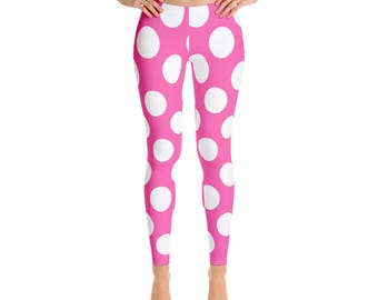 Pink Polka Dot Leggings For Women Yoga Pants Yoga Leggings Workout Leggings Pattern Leggings Printed Leggings Fashion Leggings Womens Tights