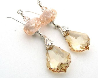 Pink Champagne Earrings, Sparkly Crystal Dangle Earrings with Handmade Lampwork Glass Beads