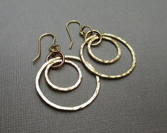 Gold Double Hoop Earrings, Gold Fill Dangle Hoops, Gold Fill Circle Earrings, Hammered Circles, Modern Jewelry, Statement Earrings, Boho