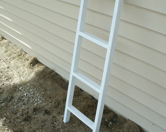 "ladder, wooden ladder, 42"" whitewashed ladder, ladder decor, blanket ladder"
