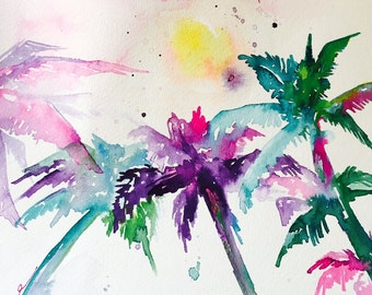 Tropical Palm Trees Watercolors Painting, Travel illustration by Lana Moes, Wanderlust Collection, Abstract Watercolor Miami Mementos