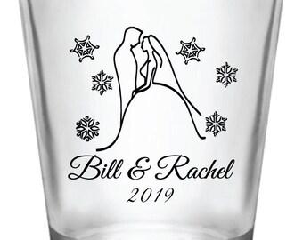 144-Winter Wedding 1.75oz Shot Glasses Wedding Favor - Custom Personalized Bride & Groom Snowflakes Christmas Wedding Favor