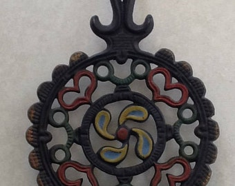 Cast Iron Painted Trivet~Hearts and Windmill~Trivets~VintageKitchen~Rustic Kitchens~~270 H~Iron Trivet~Hand Painted~9 In Tall~GreatCondition