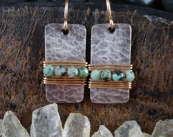 Hammered Silver with African Turquoise Earrings