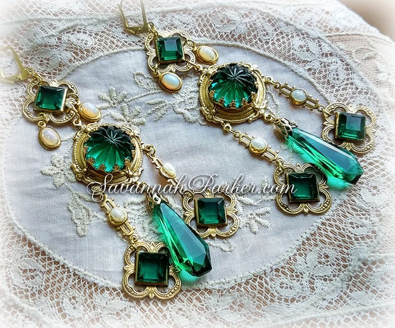 """Antique Style Victorian Edwardian Renaissance Emerald and Opal Earrings - Vintage Czech Glass Stones -  3.5"""" long length - READY TO SHIP"""