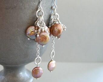 freshwater bronze pearls and zircon earrings, pearl earrings, bronze pearl drop earrings, freshwater pearl dangle earrings