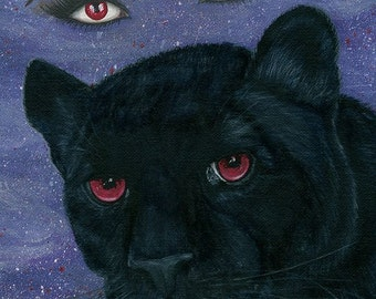 Carmilla Black Panther Vampire Victorian Red Eyes Penny Dreadful Gothic Cat Fantasy Cat Art Print 5x7 Cat Lovers Art
