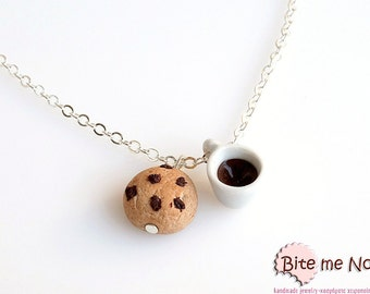 Chocolate Chip Cookie with Coffee - Food Jewelry, Cookie Charm, Miniature Food, Cookie Jewelry, Coffee Necklace, Polymer Clay Food