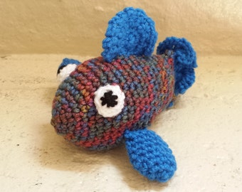 Fish Stuffed Animal Crochet Toy/ Amigurumi Plush Doll/ Blue And Multi Color/ Handmade Toys/ Stuffed Animals For Children