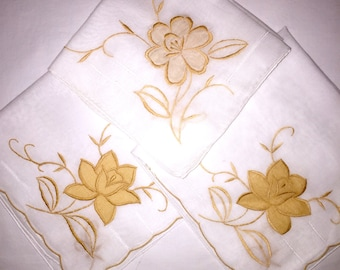 Three Vintage White Handkerchiefs with Gold or Yellow