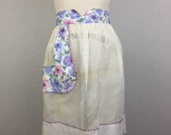 Vintage 40s Sheer White and Floral Pocket Apron
