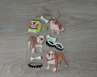 Sheet of stickers depicting dogs scraptbooking 3 d