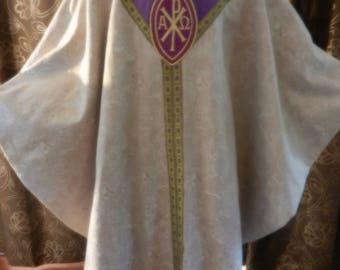 Light Purple Chasuble Metallic Jacquard Fabric with Amethyst Silk Lining