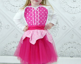 Sleeping Beauty  TUTU apron Aurora pink APRON kids full costume apron for dress up and play
