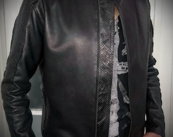 Black Inox - Men's leather jacket with real snake skin by Pentagram