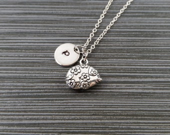 Silver Hedgehog Necklace - Hedgehog Charm Pendant - Personalized Necklace - Custom Gift - Initial Necklace - Woodland Necklace - Floral Gift