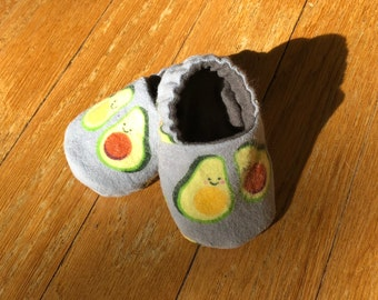 Avocado baby, Grey baby booties, Avocado baby shoes, Gender neutral baby shower gift