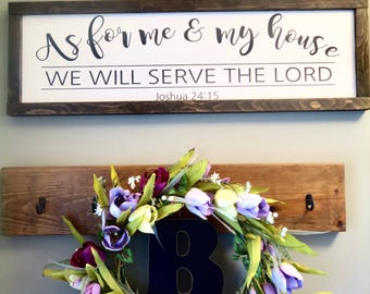 As for me and my house framed rustic wood sign | As for me and my house we will serve the Lord | Joshua 24:15 | Farmhouse decor | Scripture