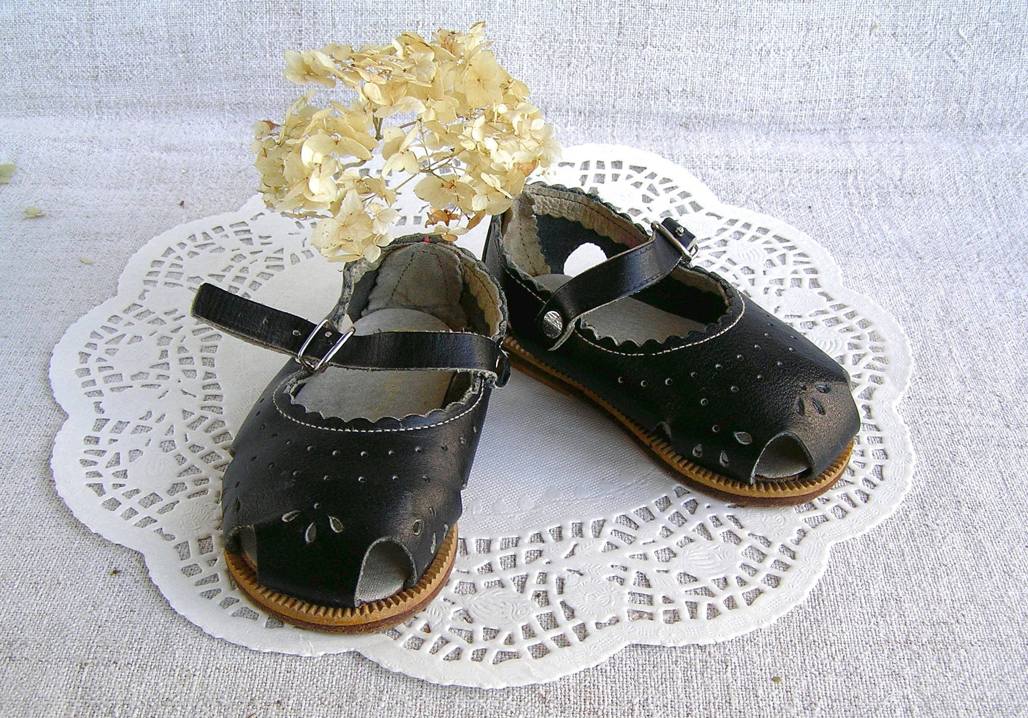 Babies Leather Sandals NOS Black Soviet Baby Shoes Made in