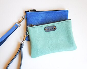Personalized leather wristlet, Mint and blue leather card and coin purse