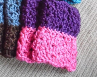 Bootcuffs, Dual Colored, Two-in-One Chunky Boot Cuffs, Boot Toppers - Medium Girly Pink & Purple