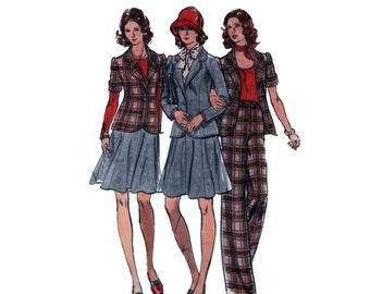 70s Annie Hall Jacket pattern Skirt pattern vintage 38-30-40 High Waisted Pants pattern Flared Skirt pattern Butterick 3499