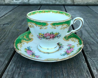 Royal Tuscan Naples Green Cup Saucer Set English Bone China England Green Gold Leaves Scrolls Vintage Art Deco Style Tea Party